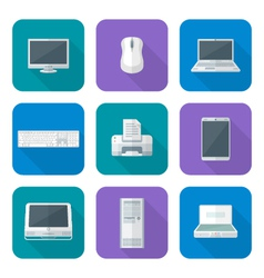 Colored computer gadgets icons flat vector