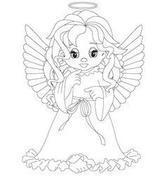 Little angel coloring page vector