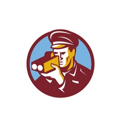 Policeman speed camera scanning circle retro vector