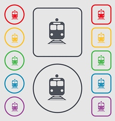 Train icon sign symbol on the round and square vector