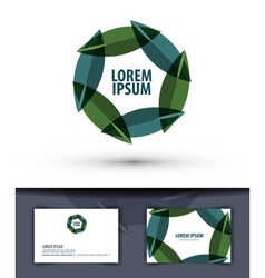 Foliage in a circle logo icon emblem template vector