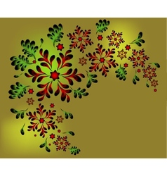 The pattern of red flowers and leaves eps10 vector