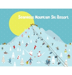 Cartoon mountains skyline ski resort seamless vector