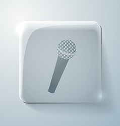 Microphone glass square icon vector
