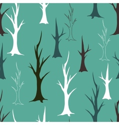 Bare autumn trees seamless pattern vector