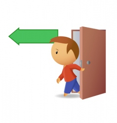 Men exit from the door vector