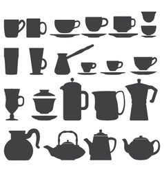 Cups and pots silhouette set vector