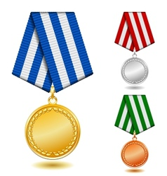 Gold silver and bronze medals on patterned color vector