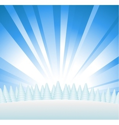 Snowy forest on hill vector