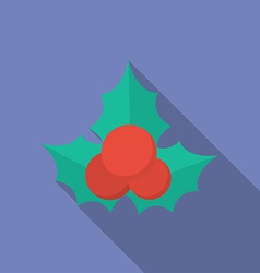 Icon of christmas holly berry flat style vector