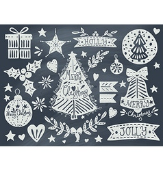 Christmas grunge set on blackboard vector
