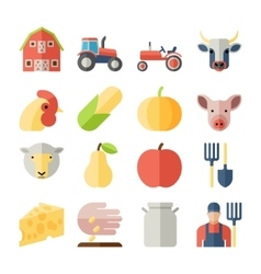 Set of farming harvesting and agriculture flat vector