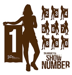 Silhouette woman show number vector