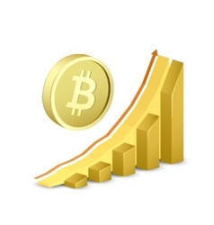 Growth chart with bitcoin sign vector
