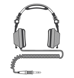 Outline big headphones vector