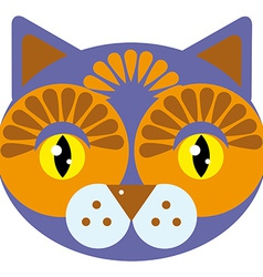 Cute cartoon muzzle cat on a white background vector