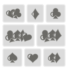 Monochrome icons with suits of playing card vector