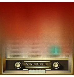 Abstract brown grunge background with retro radio vector