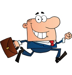 Businessman running to work with briefcase vector