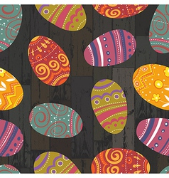 Easter eggs seamless wooden background vector
