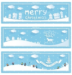 Three happy new year and christmas banner vector