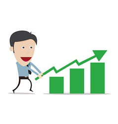 Cartoon with growth success business gree vector