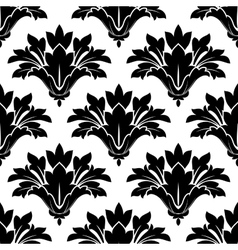 Black arabesque floral seamless pattern vector