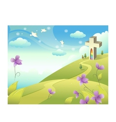 Church landscape background vector
