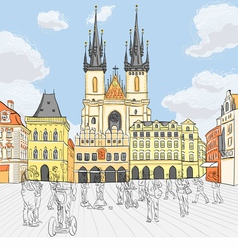Old town square in prague vector