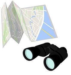 Road map and binoculars vector