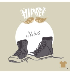 Hand drawn pair of sneakers vector