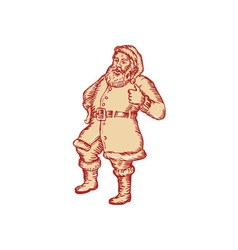 Santa claus father christmas thumbs up etching vector