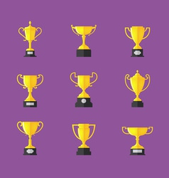 Golden trophy icons set vector