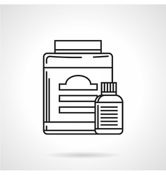 Supplements containers line icon vector
