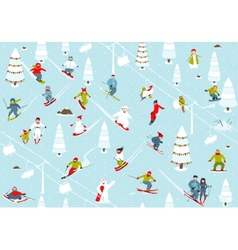 Cartoon mountain ski resort seamless pattern vector
