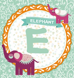 Abc animals e is elephant childrens english vector