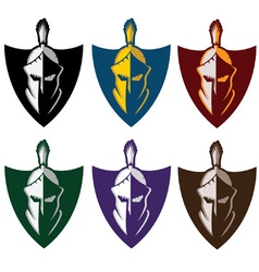 Crests with spartan warrior vector