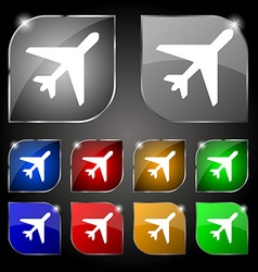 Airplane icon sign set of ten colorful buttons vector
