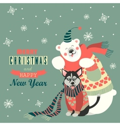 Cute polar bear and husky celebrating christmas vector
