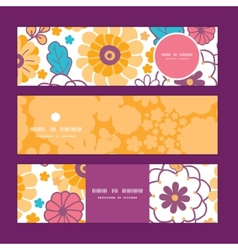 Colorful oriental flowers horizontal vector