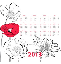 Stylized poppy flower vector