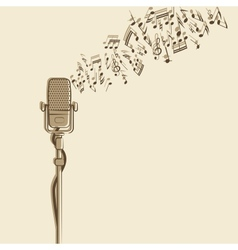 Retro background with microphone vector