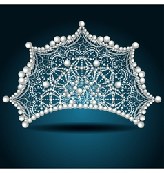 Crown tiara with pearl white female vector