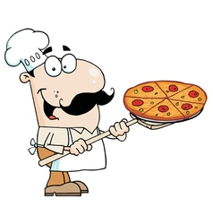 Caucasian chef carrying a pizza pie vector