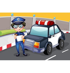 A policeman with his police car vector