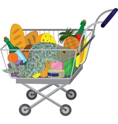 Grocery store shopping cart with food items and vector