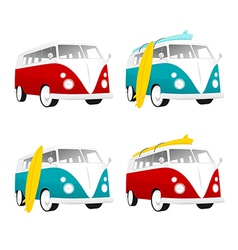 Vintage camper bus van with surfboards vector