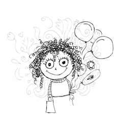 Curly girl sketch with balloons for your design vector