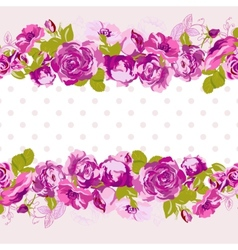 Seamless border of blossom roses vector