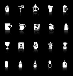 Variety drink icons with reflect on black vector